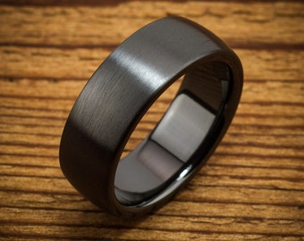 Classic Domed Black Zirconium Men's Comfort Fit Wedding Ring Quick Ship QZ0019