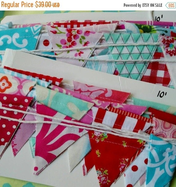 30 PERCENT OFF Sale. Long Mini Flag Bunting, Features Tiny Flags in a Mix of Happy Colors Designer Fabrics.  Ten feet of Red, Blue, Aqua and