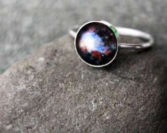 Dark Orion Nebula Sterling Silver Stacking Ring - Galaxy Space Jewelry Customized - Cosmos Outer Space Nebulas - Stars, Colorful Jewellery