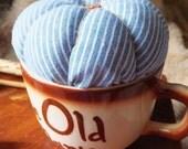 Men's Pincushion Teacup Pincushion Sewing Supplies Gift for Crafter Vintage 1950's Man's Mug Pin Cushion Cottage Chic Decor Gift for Man