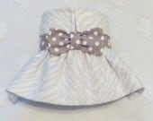 Female Dog Diaper Skirt  Perfect for your dog in Season and House Training Flannel Soft Grey Animal Print and Dots