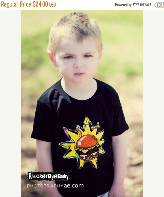 "SUPER SALE Toddler ""Snack Attack"" t-shirt hand cut with from Midnight Snack fabric on a black shirt size 2t, 3t, 4t"