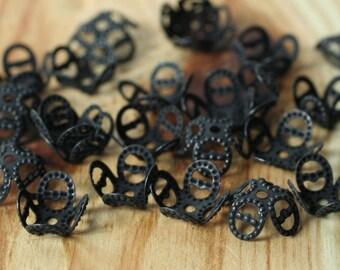 Blackened brass filigree bead cap 8mm, 36 pcs (item ID XMXH00108B)