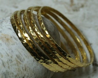 Stacking Bangle Bracelets, Gold Tone Bangles, Handmade Bangles, Hammered Bangles, one piece (item ID FA00111GPK)