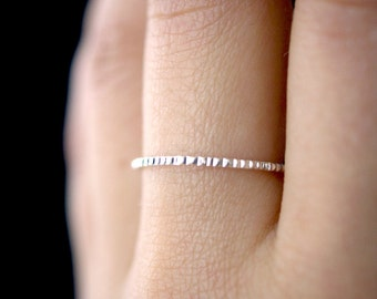 NEW Lined Sterling Silver ring, Sterling Silver ring, silver stacking ring, notched ring, hammered, ring, silver stacking ring, bark ring