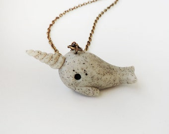 Stone Narwhal Necklace Polymer Clay Faux Stone Animal Totem