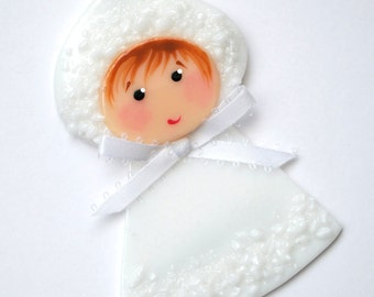 Snow Baby, Christmas Ornament, Baby's First Christmas, Glass Ornament, Handmade, Glass Decoration, CGGE, 073
