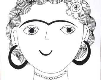 New Frida Kahlo original screen print by Jane Foster signed retro modern