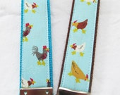 KeyFob Key Chain Wristlet - Chickens in Blue - Fabric Keychain