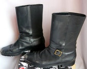 Vintage Black Leather BIKER Boots size 8 .5 M Eu 39 UK 6 Ralph Lauren Womens Grunge Ankle Flat Shoes Brazil