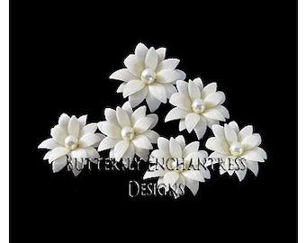 Ivory Hair Flowers, Wedding Hair Accessories, Bridal Bridesmaid Gift - 6 Ivory Vintage-Inspired Mini Dahlia Flower Hair Pins - Pearl