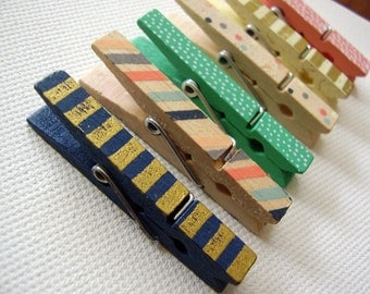 Set of six Mini Screen printed clothespin magnets / fridge magnets / kitchen magnets / super strong