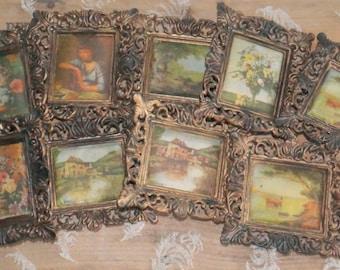 9 vintage plastic kitsch regency frames pastoral scenes