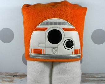 Teen or Adult Hooded Towel BB8 Droid - Character Inspired BB8 Towel for Bath, Beach, or Swimming Pool