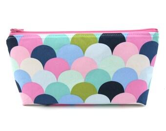 Pastel Scales Cosmetic Bag, Zip Pouch, Makeup Bag, Pencil Case, Zipper