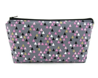 Small Triangles on Grey Cosmetic Bag, Zip Pouch, Makeup Bag, Pencil Case, Zipper