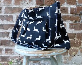 Black White Rabbit Bag - Diaper Bag or Messenger Bag - 6 Pockets - Adjustable Strap