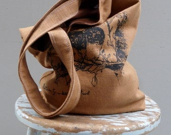 Owl Tote - Organic Ginger Linen - Northern Saw Whet Owls - 2 pockets - Hand Printed