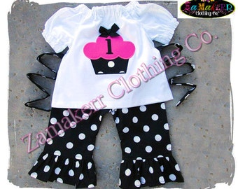 Custom Boutique Clothing Baby Girl Birthday Cupcake Outfit Top Pant Set PINK Toddler Birthday 1st 3 6 9 12 18 24 month size 2T 2 4 5 7 8 T