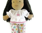 Ladybug 14, 15 inch Waldorf Clothes, white cotton, pink rick rack with ladybug patch top, doll clothing, ladybug twill pants for your doll