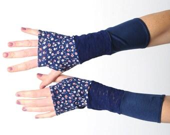 Long blue armwarmers, Blue jersey armwamers, Blue patchwork fingerless gloves, Blue floral wrist warmers, Blue floral fingerless gloves