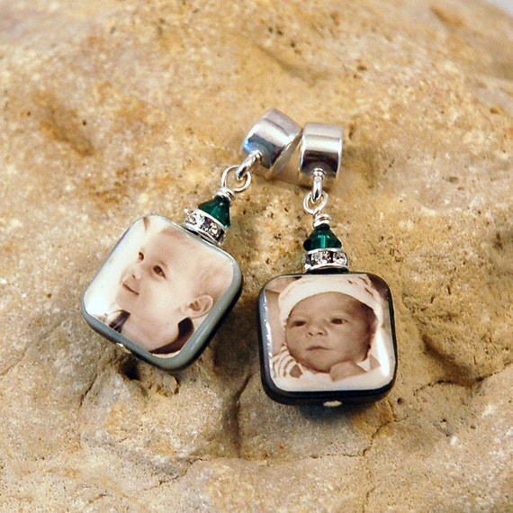 BESTSELLER - Double-Sided Square Mother of Pearl Custom Photo Charm for European Style Charm Bracelet