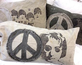 Vintage Khaki Tan Swedish Military Mail Bag Beatles JOHN LENNON Peace Pillow