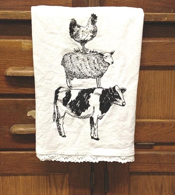Tea Towel Kitchen Curtains: Farmhouse Cow Sheep Chicken Flour Sack Tea Towel White