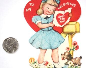Vintage Sweet *GIBSON GIRL & Dog *VALENTINE 1950'S Card Excellent~ Paper