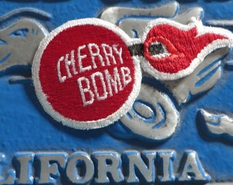 Vintage 1980s CHERRY BOMB embroidered Patch NOS Glasspack muffler Hot Rat Rod