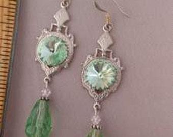 Crystal Chandelier earrings Wedding Victorian Chandelier Crystal light green drop silver earrings