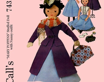 Vintage McCalls 7432 - Mary Poppins Doll and Clothes Sewing Pattern