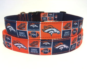 "1"" Denver Broncos Dog Collar - NFL - Super Bowl - Football - Dog Collar - Free Shipping"