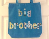 Large Big brother or Sister Tote Bag - Great as a Birthday Present, Library Book Bag, Sleepover, Party favors