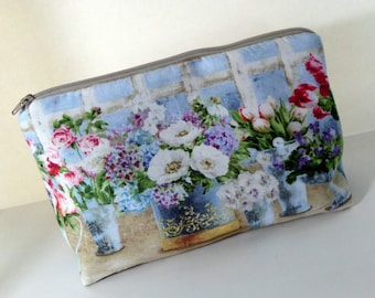 Flower Garden Cosmetic Bag, Floral Cosmetic Bag, Flower Garden Purse Organizer, Spring Floral Makeup Bag, Handmade by AnnieKDesigns