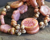 Pink Dragonfly Flower Rondelle Bronze Picasso Czech Glass Bead Mix: 9 pc Czech Glass Bead Dragonfly Mix