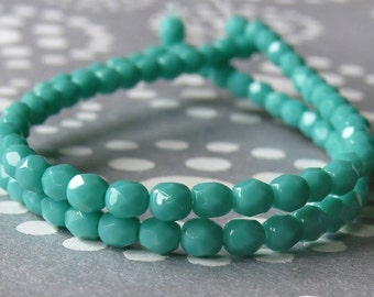 4mm Turquoise Czech Glass Bead Round : 7 inch strand 4mm Faceted Turquoise Bead