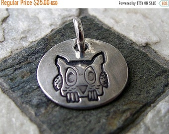 ON SALE Silver Owl Charm, PMC Fine Silver