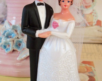 Vintage / Bride and Groom / Wedding Cake Topper / Kitschy Plastic Retro Charm