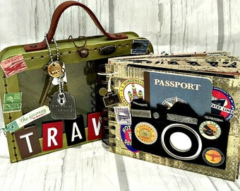 TRAVEL Vacation  Album with Chipboard SUITCASE HOLDER
