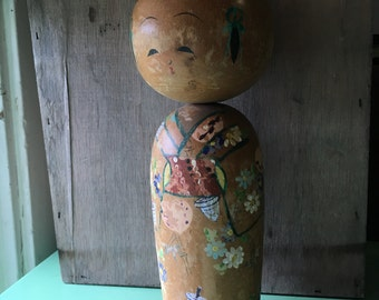 Large Kokeshi Doll Japan Wooden Figure Vintage Bobblehead Wood Doll Asian Art Hand Painted