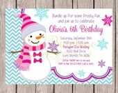 PRINTABLE Girls Snowman Birthday Party Invitation in Pink, Purple and Blue / Winter ONEderland / Winter Wonderland Party / You Print - 001