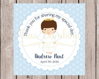 PRINTABLE Baptism Angel Baby Favor Tags in Powder Blue / Print Your Own Personalized Stickers for Christening / Choose Hair and Skin Color