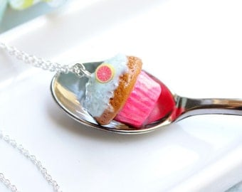Coffee Cupcake with Tie Dye Hot Pink Base Necklace