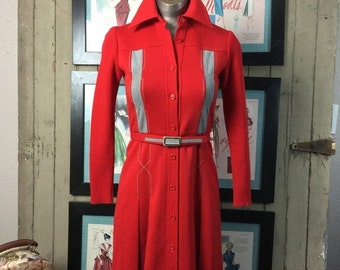 Sale 1960s wool dress 60s red dress mod dress size x small vintage dress retro dress