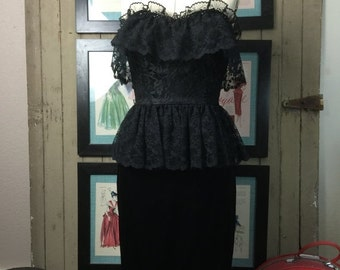 On sale 1980s dress black dress lace dress strapless dress Size medium Peplum dress cocktail dress satin dress 80s dress