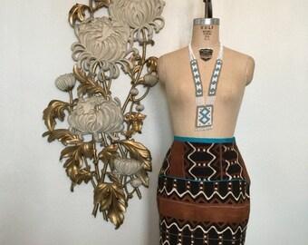 Fall sale 1990s skirt ethnic skirt mud cloth skirt size medium vintage skirt 90s skirt batik print tribal skirt