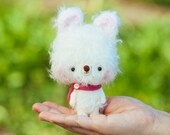 Bear softie toy / miniature plushie in pink, blythe pet - made to order - Lula -