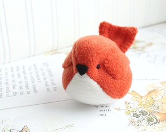 Tomato Red Fleece Bird Handmade Stuffed Animal Kawaii Red Bird Toy