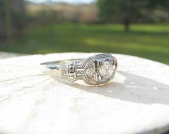 Charming 1930's Diamond Engagement Ring, Fiery European Transitional Cut Diamond, Wonderful Details, 18K White Gold